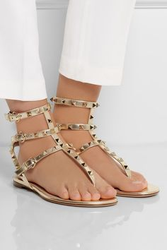 VALENTINO Studded metallic leather sandals $895