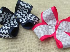 Jumbo Chevron Hair Bow for girls! i love the pink