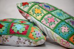 crochet granny squares pillow