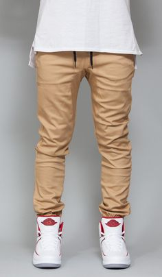 Fit: Drop crotch Slim - Stretch twill for increased wearability - Straight tapered leg silhouette - Elasticized waistband and cuffs - Drawstring at waist - D-Ring - Machine wash cold - Imported Fabric Khaki Joggers, Jogger Pants, Khaki Pants, Drop Crotch Joggers, Adidas Men, Mens Fashion, Street Fashion, Street Wear, Slim