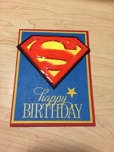 Superman card made using Stampin up cardstock and their embossing supplies! I got the awesome finish on the superman symbol using crystal effects!