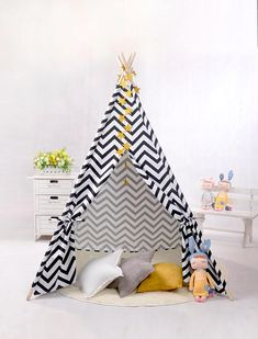 Black Chevron Kids Baby Teepee With Poles ,Kids Teepee Tent,Canvas Teepee,Teepee Kids ,Childrens Teepee,Tipi ,Play Tent House, Tipi Tent Do you remember how much you used to love tents? Kid's Teepees are finding their way into stylist playrooms and magazine worthy photo shoots left and