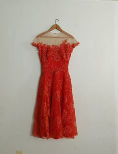 Vintage 1950's Peggy Hunt Spiced Orange Dress by missingpieces, $265.00  Beautiful details