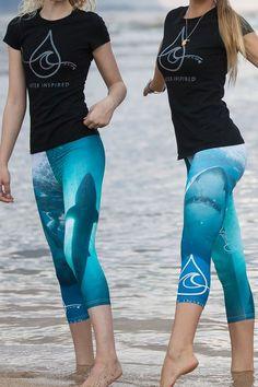 Yoga Pants, Ocean Capris, Paddle & Surf gear, Great White Shark-Ocean Ramsey Photo and Signature Design
