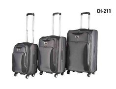 CH-211 Grey/Black 3 Pc Set soft case #luggage good for #business or casual #travel! #ChariotTravelware