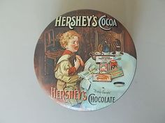 Vintage Hershey's Chocolate Round Metal Ad Tin Lid 1982 Made in England RARE | eBay Hershey Chocolate, Miniature Food, Baking Ingredients, Cocoa, Miniatures, Metal, Tin, England, Vintage