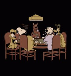 Poker Dogs classic with some classic dogs -- Snoopy's so Cool! #Busted Tees