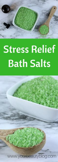 This stress relief bath salt recipe is made with eucalyptus and spearmint to naturally relieve your stress.
