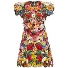 Dolce & Gabbana Floral Mini Dress ($20,000) ❤ liked on Polyvore featuring dresses, floral, floral printed dress, short cap sleeve dress, flower print dress, cap sleeve mini dress and botanical dress