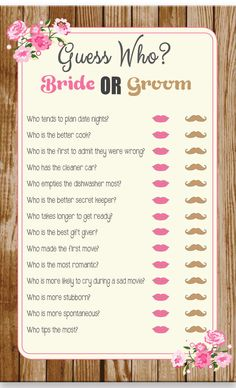 Guess Who Game, Bridal Shower Game, Rustic Wood, Pink Flowers, Wedding… Couple Shower Games, Fun Bridal Shower Games, Bridal Shower Party, Bridal Shower Decorations, Bridal Shower Invitations, Ideas For Bridal Shower, Wedding Games, Wedding Couples, Couples Wedding Shower Games