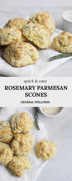 Rosemary Parmesan Savory Scones are a delicious savory scone recipe loaded with flavor and can be a holiday scone recipe as well, including Christmas morning! Savory Scones, Savory Breakfast, Breakfast Recipes, Dessert Recipes, Vegan Scones, Homemade Scones, Delicious Desserts, Yummy Food, Tasty