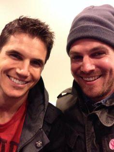 Stephen Amell & Robbie Amell -- New Arrow board for the cast here! http://www.pinterest.com/kasmackl/arrow-peeps/