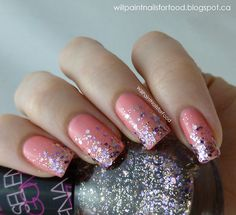Pink nails with silver glitter gradient by Will Paint Nails for Food