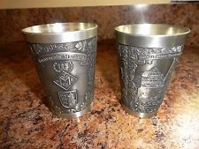PAIR GERMANY PEWTER ZINN CUPS TUMBLERS EMBOSSED - SOUVENIR