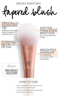 The Bold Metals Collection 300 tapered blush brush is your new go-to tool for blushing and contouring; use it to blend in powder or cream blush onto the cheek bone for a natural glow. Click to shop the 300 tapered blush brush.