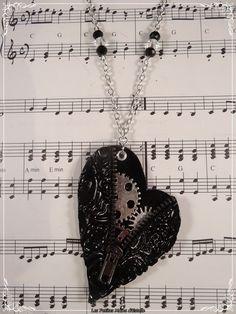 La mécanique du coeur - Sautoir noir fimo