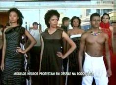 A group of models stage a protest against the lack of black models in a fashion event in Brazil's capital city, Brasília.