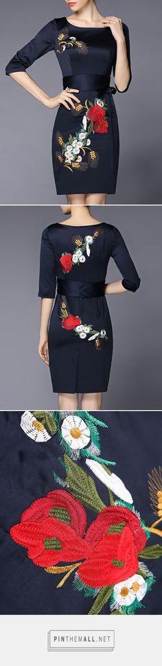 Floral Embroidered Sheath Midi Dress With Belt, Navy Blue, GYALWANA   VIPme - created via https://pinthemall.net