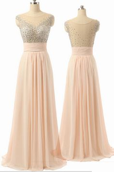 Cap Sleeves Chiffon Empire Waist Beaded Long Prom Dresses