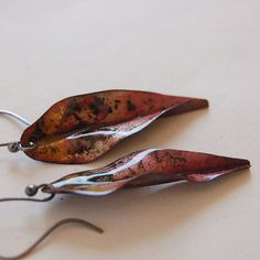 Autumn Leaf Torched Enameled Earrings