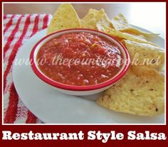 The Country Cook: Restaurant Style Salsa {if you like the salsa at Chili's, you will LOVE this one!!}