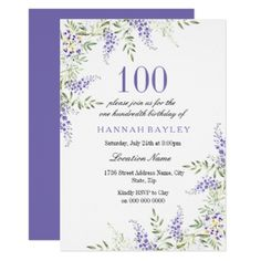 Elegant Purple Lavender 100th Birthday Invite - invitations custom unique diy personalize occasions