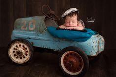 Mechanic themed newborn photo.  Car newborn photo.  Newborn Boy Session.  Orangeville, Ontario, Newborn Photographer - Joy of Life Photography