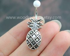 Silver Pineapple belly button ring Women Belly Button