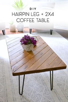 diy hairpin leg and 2x4 scrap wood coffee table
