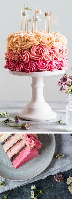 Pink Rainbow Cake with Dark chocolate and Cherry Cream