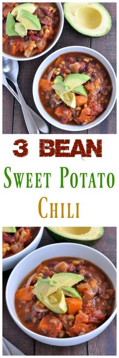 You will never miss the meat in this easy 3 Bean Sweet Potato Chili. Make it in your slow cooker while you are not home. Vegan and gluten free. Chili Recipes, Veggie Recipes, Slow Cooker Recipes, Whole Food Recipes, Soup Recipes, Crockpot Recipes, Vegetarian Recipes, Cooking Recipes, Healthy Recipes
