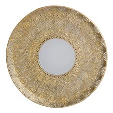 wall art patterned round mirror copper