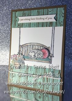 Any occasion card using Sitting Here and Woodgrain stamps by Stampin' Up! #letsgetstamping #stampinup http://deniseibbett.stampinup.net