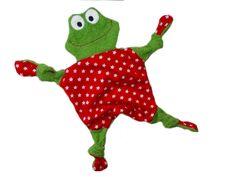Zuckersüsses Frosch Schnuffeltuch. Angefertigt aus grünem Frottee und Baumwollstoff in rot Größe (Kopf und Körper) ca. 28cm gemessen ohne Zipfel