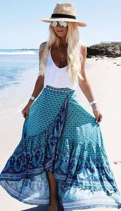 White Top + Turquoise Wrap Maxi Skirt