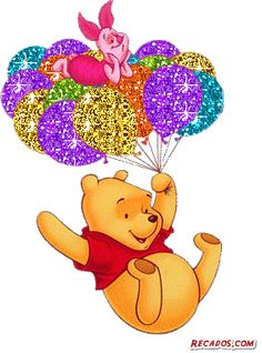 Sparkling Winnie the Pooh and Piglet riding on balloons Birthday Messages, Birthday Quotes, Birthday Wishes, Birthday Cards, Happy Birthday Pictures, Happy Birthday Greetings, Disney Birthday, Glitter Graphics, Disney Winnie The Pooh