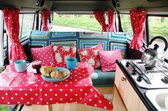 inside vintage camper red polka dot & turqoise