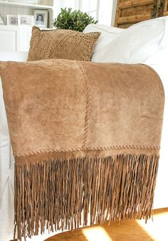 Luxury throw in brown suede with fringe and by WestDepartment