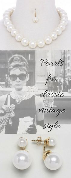 Add pearls to any vintage outfit and you elevate if to a higher level of gorgeousness (technical word!)  #pearls #pearljewellery #pearlnecklace  #ad #AudreyHepburn #vintagestyle