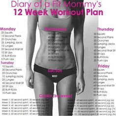 Diary Of A Fit Mommy's 12 Week Workout Plan 12 Week Workout Plan, Weekly Workout Plans, Workout Plan For Women, At Home Workout Plan, Workout Challenge, At Home Workouts, Workout Diary, Exercise Plans, Mommy Workout Plan