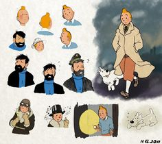 Tintin // cool sketches - love the flashlight one