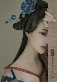 """Beauty is in the eye of the beholder"". Art Geisha, Geisha Kunst, Geisha Drawing, Art Asiatique, China Girl, Japan Art, Hanfu, Chinese Art, Belle Photo"