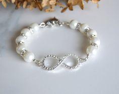 Infinity bracelet, Pearl rhinestone infinity bracelet, wedding bracelet, bridal jewelry, bridesmaids jewelry