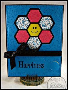 handmade card featuring Grandma's Garden Quilt Block Die ... cute smiley face in center of hexagon flower ...