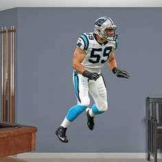 Luke Kuechly REAL.BIG. Fathead Wall Graphic | Carolina Panthers Wall Decal | Sports Home Décor | Football Bedroom/Man Cave/Nursery