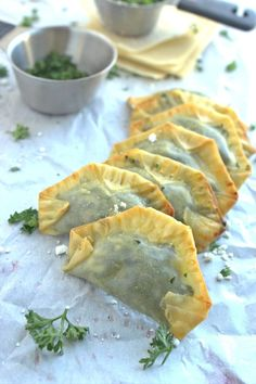 Out with the filo dough - in with the won ton wrappers! Try your next batch of homemade spanakopita using won ton wrappers instead of fussy filo! Appetizer Recipes, Appetizers, Wonton Recipes, Cooking With Olive Oil, Wonton Wrappers, Savory Snacks, Unique Recipes, Vegetable Recipes, Food Network Recipes