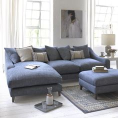 46 Living Room Design Furniture Sofa Set is Perfect for Your Home Living Room Sofa, Home Living Room, Living Room Furniture, Living Room Designs, Living Room Decor, Living Spaces, Living Room With Corner Sofa, Blue Corner Sofas, Living Area