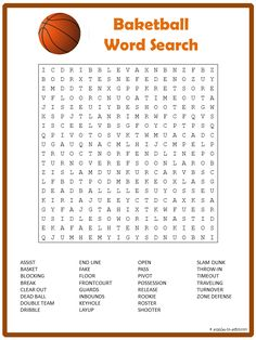 Ready to print 30 term basketball word search is waiting for you to enjoy. Fun activity for early finishers or a club get together. Ready to print 30 term basketball word search is waiting for you to Basketball Crafts, Basketball Games For Kids, Basketball Birthday Parties, Sports Birthday, Basketball Socks, Sports Party, Basketball Hoop, Xavier Basketball, Basketball Drawings