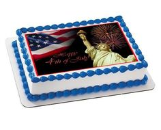 4th of July 1 Edible Birthday Cake Topper OR Cupcake Topper, Decor - Edible Prints On Cake (Edible Cake