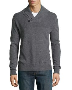 Cashmere Rib-Trimmed Shawl-Collar Sweater, Storm by Neiman Marcus at Neiman Marcus Last Call.
